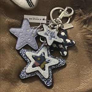 Coach bangle star bangle key fob/ring blue/silver
